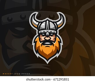 Viking logo design. Sport team mascot logotype illustration. Eps10 vector.
