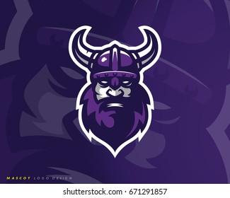 Viking logo design. Sport team mascot logotype illustration. Eps10 vector.