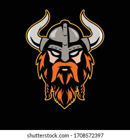 viking logo mascot with simple colors, suitable for sports logos