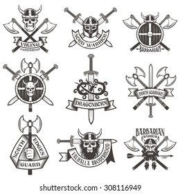 Viking logo set. Skull in horned helmet, with beard, warrior head, crossed axes, swords, shield, hand with ax, dragon. Can be easily disassembled into separate items.