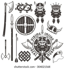 Viking logo, tattoo with warrior head, crossed axes, spear and shield. Set of elements for emblem - arrow, king, horned helmet, horn, dragon.