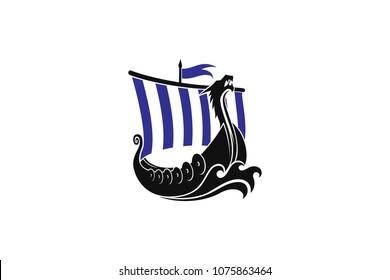 Viking Long boat with Dragon head