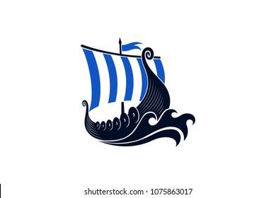 Viking Long boat vector