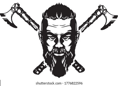 Viking man. Vector illustrated/isolated. Black and white