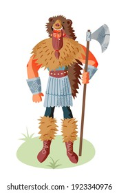 Viking man with weapon in bear skin. Medieval Norway people and mythology vector illustration. Angry scary man with beard standing and holding weapon isolated on white background.