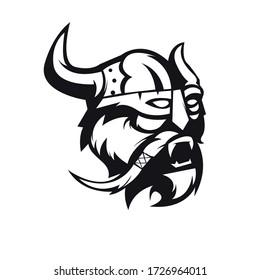 Viking mascot logo silhouette version. viking logo in sport style, mascot logo illustration design vector