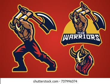 viking mascot set swing the axe