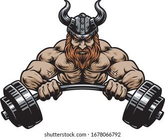 viking muscle gym vector barbel