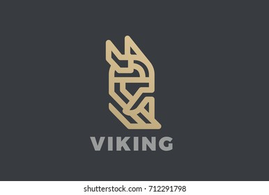 Viking Odin Head in Helmet with Beard Logo design vector template Linear style. Anciend Medieval Norse Warrior Knight Logotype vintage luxury concept icon.