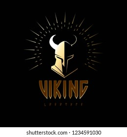 Viking Odin Head in Helmet, Logo design vector template. Ancient Medieval Norse Warrior Knight Logotype vintage luxury concept icon.