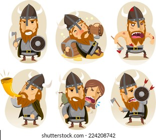 Viking old nordic seafarer cartoon character