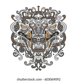 Viking ornament in a graphic style. Vector illustration of warrior design clothing on a white background.