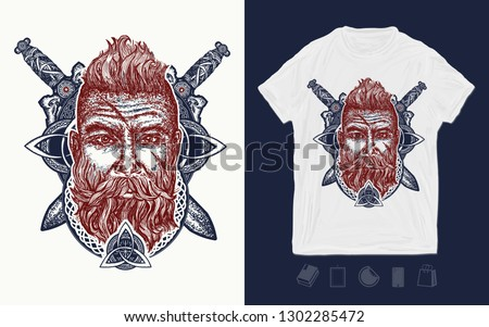 20a709da Viking. Print for t-shirts and another, trendy apparel design. Bearded  barbarian