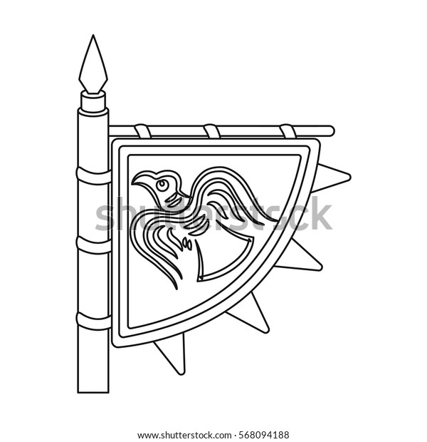 Viking s flag icon in outline style isolated on white background. Vikings symbol stock vector illustration.