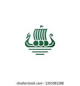 viking sail ship drakkar simple logotype