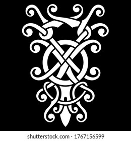 Viking Scandinavian design. Celtic, Scandinavian knot-work illustration, isolated on black, vector illustration