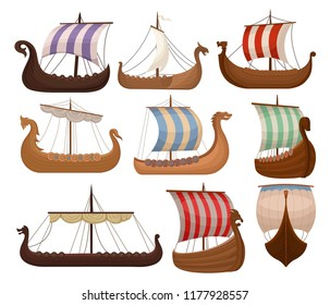 Viking scandinavian draccars set, Norman ship with color sales vector Illustrations on a white background