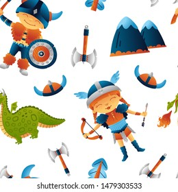 Viking seamless pattern cute boy, girl warriors with weapons and a dragon,. Funny illustration for kids. Isolated on white background. Print, t-shirt, fabric. Vector