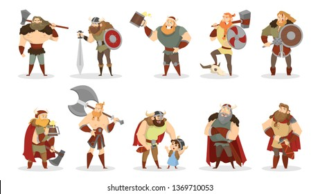 Viking set. Collection of warrior with weapon. Axe and sword, wooden shield. Group of strong man in armor and helmet. Isolated vector cartoon illustration