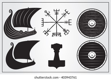 Viking set of design elements. Icon of Drakkar, Mjolnir. Shield and Vegvisir - Icelandic magic symbol of guidence.