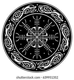 Viking shield decorated with a Scandinavian pattern of dragons and Aegishjalmur, Helm of awe (helm of terror) Icelandic magical staves isolated on white, vector illustration