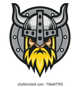 Viking with Shield Vector Logo Template