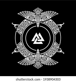 Viking shield vector with Scandinavian ornament and ravens, in the middle the symbol is Valknut that is connected by Odin, ritual executions and funeral rites that is isolated on a black background