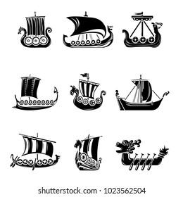 Viking ship boat drakkar icons set. Simple illustration of 9 viking ship boat drakkar vector icons for web