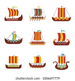Viking ship boat norway drakkar icons set. Flat illustration of 9 viking ship boat norway drakkar vector icons for web