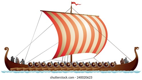 Viking Ship Drakkar Langskip Age Longship With Dragons Head Realistic Vector Illustration