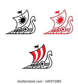 Viking ship Drakkar medieval ancient military sailboat
