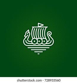 viking ship drakkar vector logo
