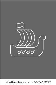 Viking ship icon, Vector