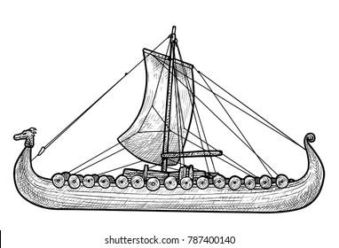 Viking ship illustration, drawing, engraving, ink, line art, vector