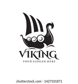 Viking ship logo template vector illustration
