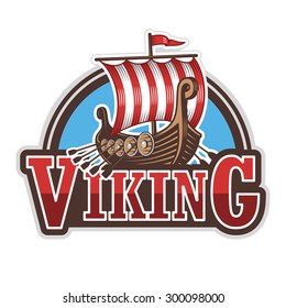 Viking ship sport logo. Colored isolated on white background