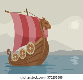 Viking ship. Vector cartoon illustration