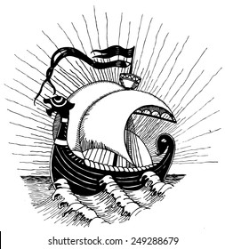 Viking ship. Vectorized ink drawings.