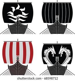 viking ships. stencil. vector illustration
