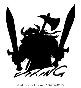 Viking sign with swords on white background.