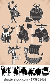 Viking Silhouettes: Set of cartoon Viking silhouettes, each in 2 versions. No transparency and gradients used.