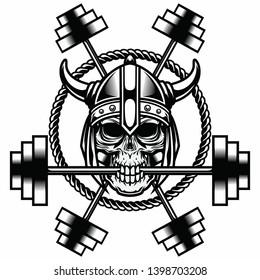 Viking skull Bite Gym Dumble Vector in black and white