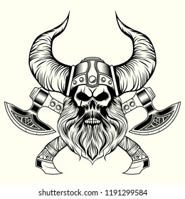 Viking skull with Crossed axes vector illustration