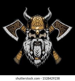 Viking skull illustration on black background