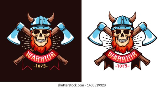 Viking skull logo template - a warrior in a horned helmet with crossed axes and a heraldic ribbon. Vector color illustration in retro style.