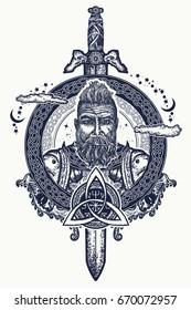 Viking tattoo and t-shirt design. Symbol of force, courage. Scandinavian mythology t-shirt design