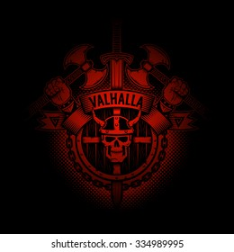 Viking Valhalla emblem appearing out of the darkness. Perfect on your black t-shirt!