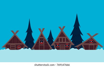 Viking Village in winter. Flat design. Vector illustration