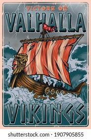 Viking vintage colorful poster with medieval scandinavian drakkar ship sailing on stormy sea vector illustration