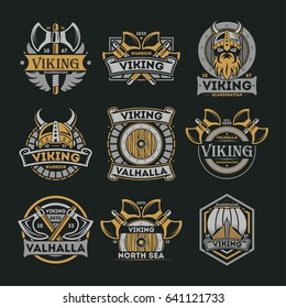 Viking vintage isolated label set. Scandinavian viking warrior badge, valhalla and north sea emblem. Medieval barbarian element collection with shield, ax, horned helmet, boat vector illustration.
